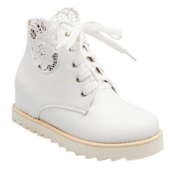 Casual Tie Up and Increased Internal Design Women's Short Boots - WHITE 39