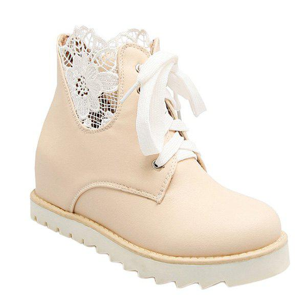 Casual Tie Up and Increased Internal Design Women's Short Boots - LIGHT APRICOT 38