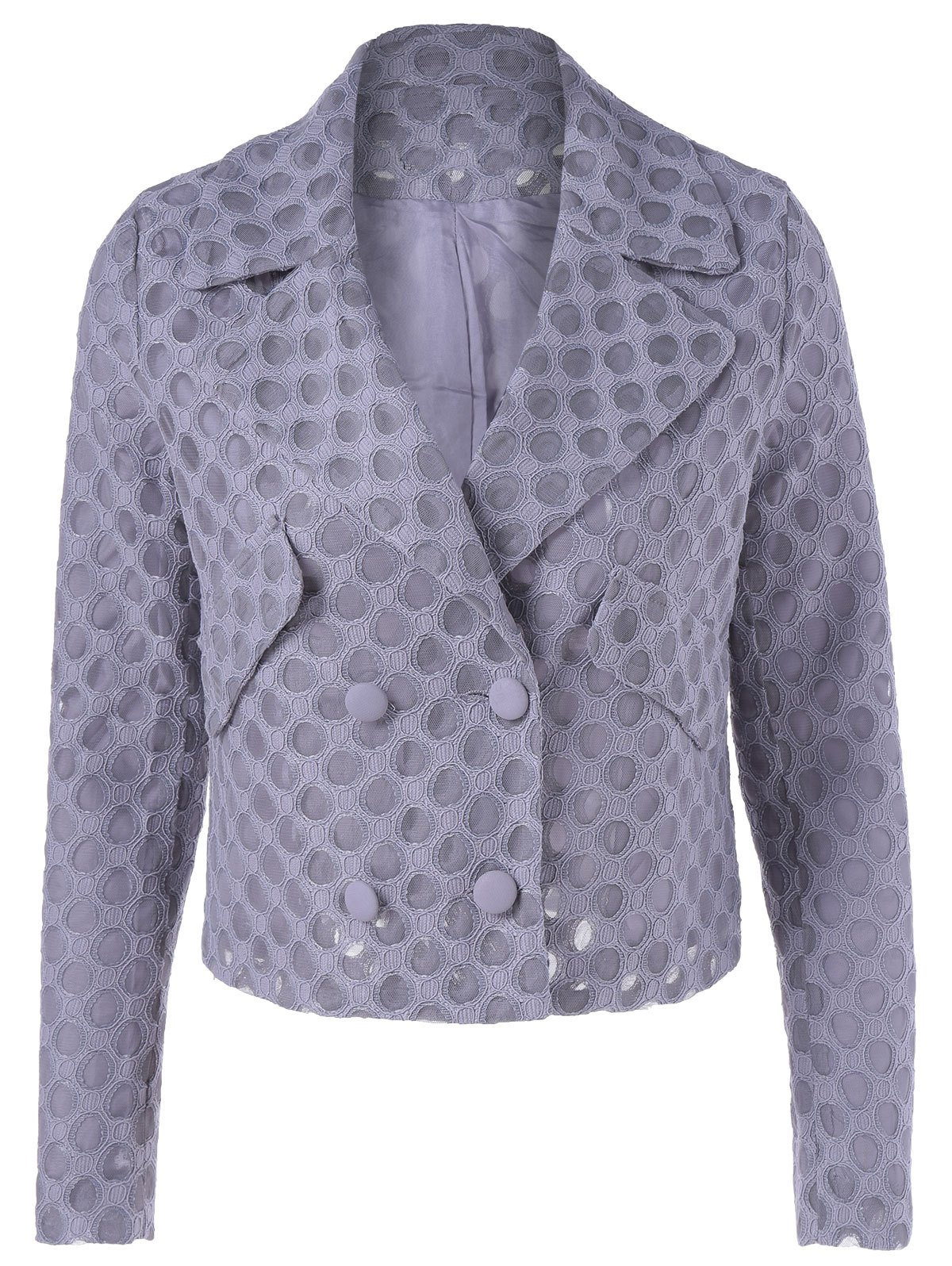 Casual Women's Turn-down Collar Button Mesh Long Sleeves Jacket - SMOKY GRAY L
