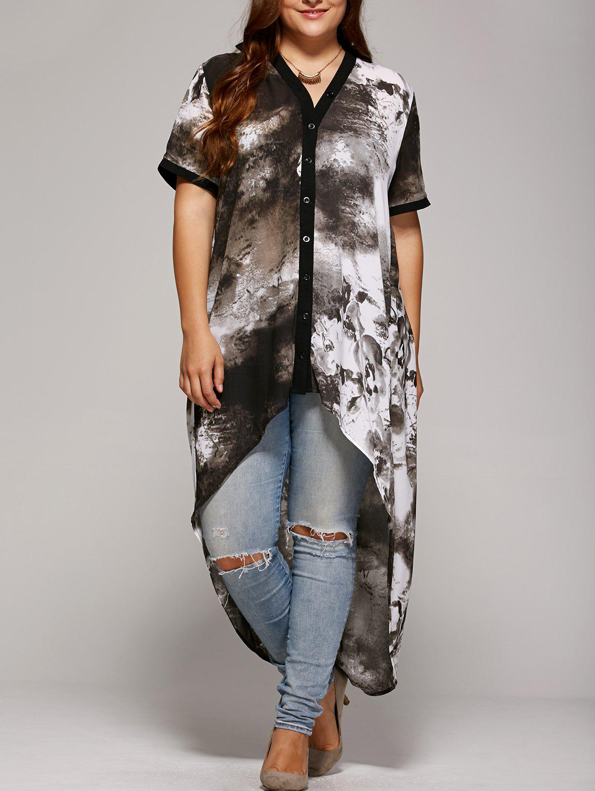 Plus Size Single Breasted Asymmetrical BlouseWomen<br><br><br>Size: 5XL<br>Color: GRAY