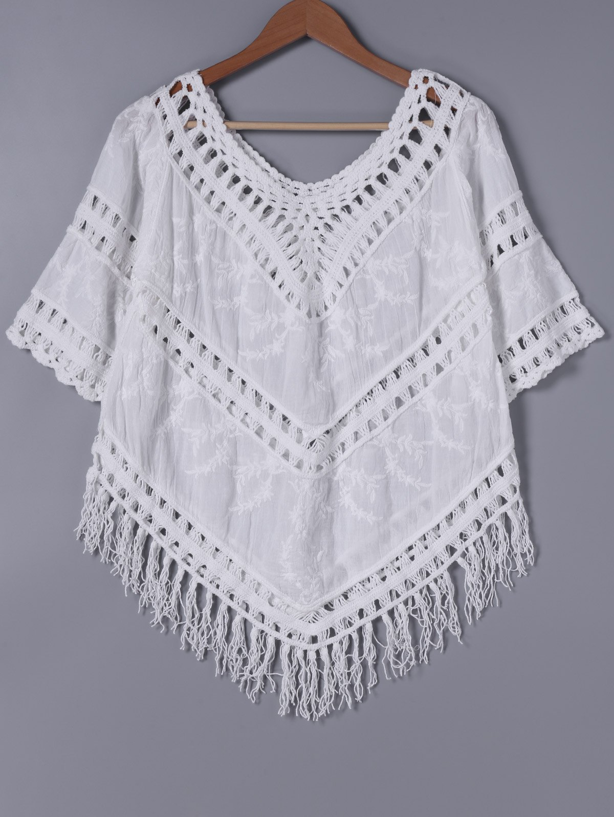 Stylish Women's V-Neck Crochet Panelled Embroidered Fringe Blouse touch switch 2 way 1 gang black white crystal glass switch panel wall light touch screen switch 110 220v ac hot
