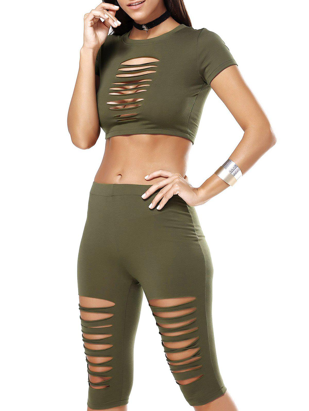 Hollow Out Crop Top and Ripped Capri Pants - ARMY GREEN L