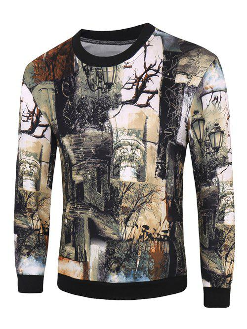 Plant 3D Print Round Neck Long Sleeve Men's Pullover Sweatshirt - BLACKISH GREEN 3XL