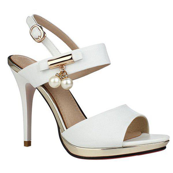 Chic Platform and Faux Pearls Design Women's Sandals - WHITE 39