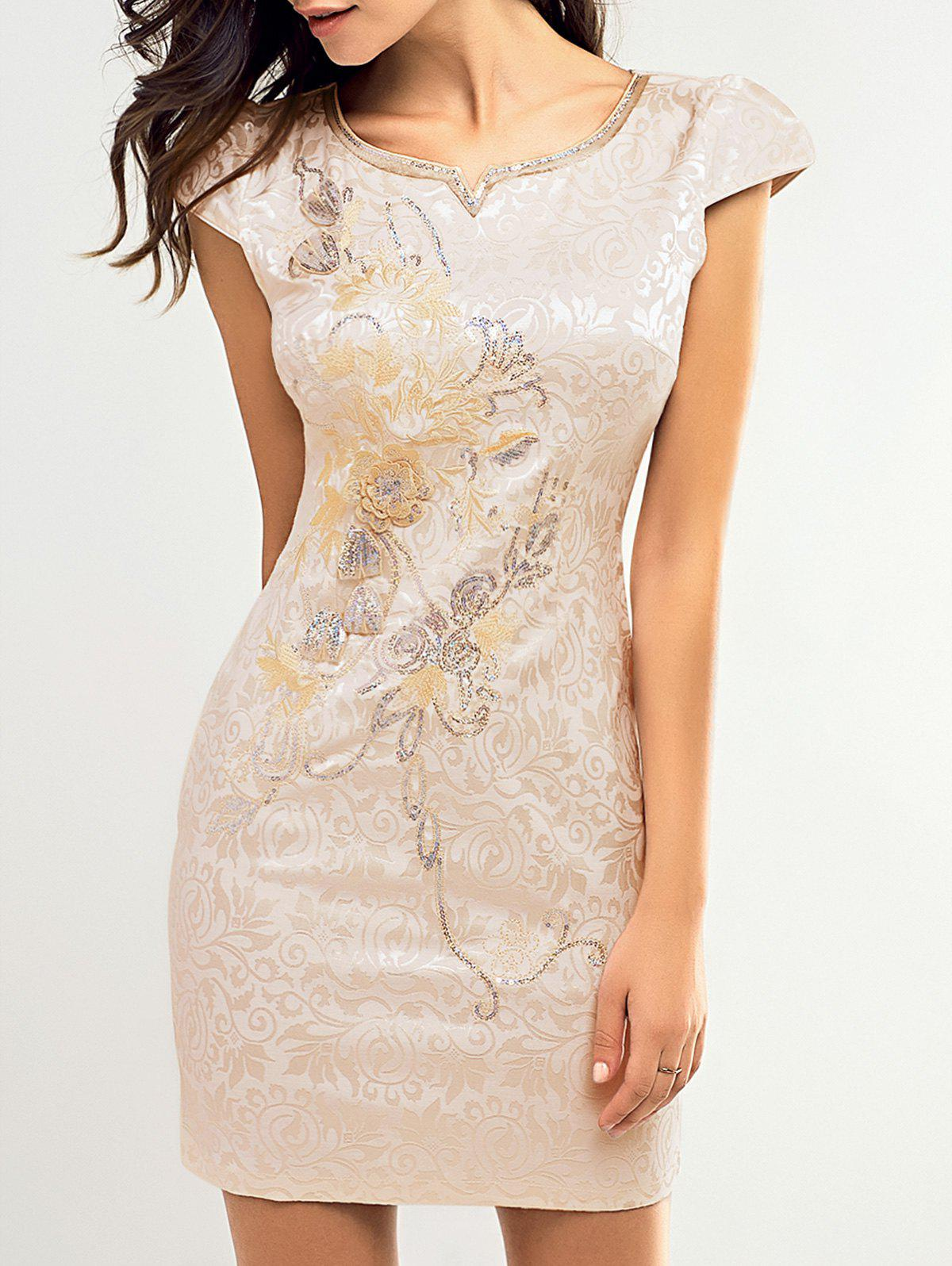 Vintage Floral Embroidered Sequined Dress For Women - BEIGE 2XL