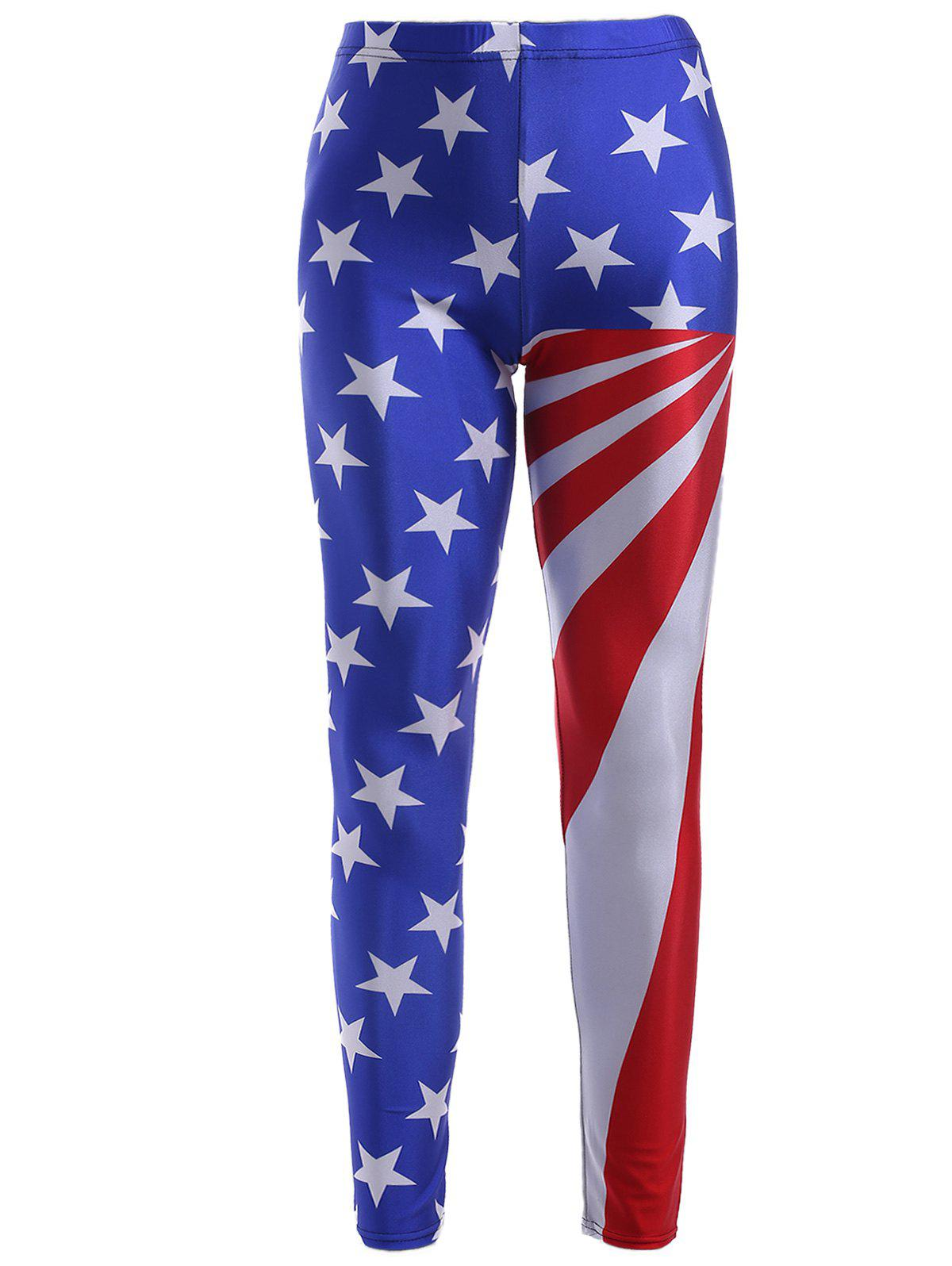 Star Stripe Flag Print Skinny Leggings - COLORMIX ONE SIZE