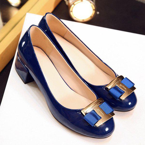 Casual Metal and Patent Leather Design Women's Flat Shoes - BLUE 39