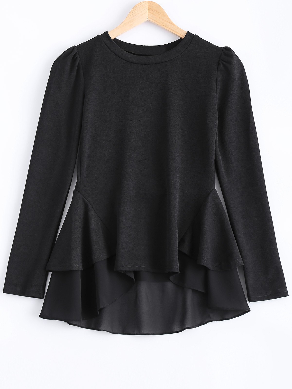 Simple Pure Color Flounce Layered Top For Women