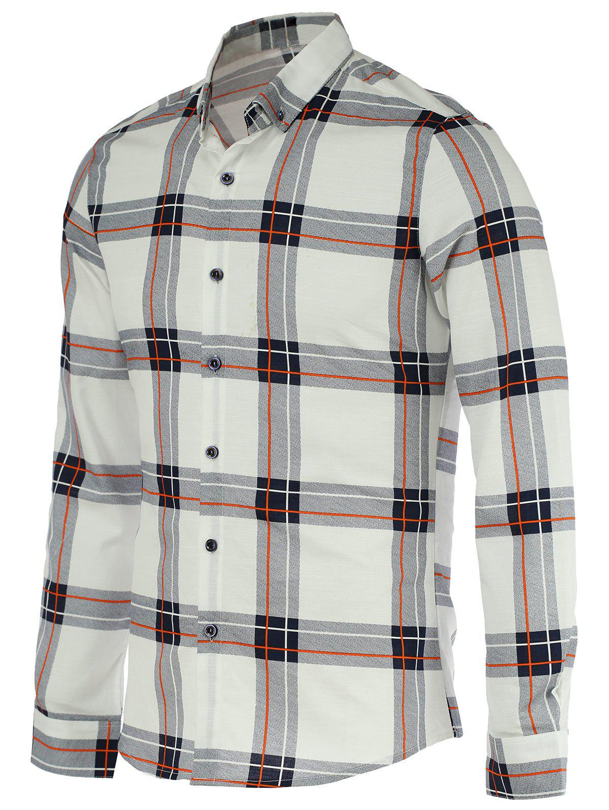 Checked Pattern Turn-Down Collar Long Sleeve Button-Down Men's Shirt - WHITE 2XL
