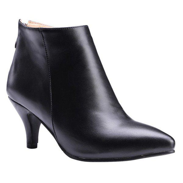 Simple Kitten Heel and Zipper Design Women's Ankle Boots - BLACK 39