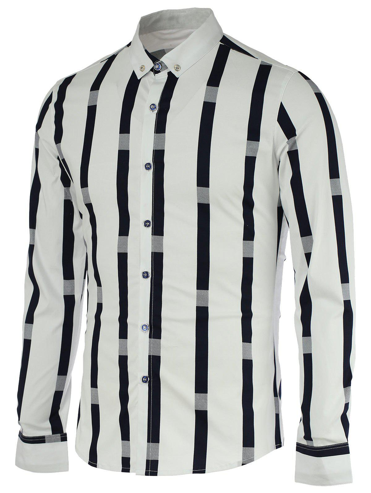 Vertical Stripe Spliced Pattern Turn-Down Collar Long Sleeve Button-Down Men's Shirt - WHITE 2XL