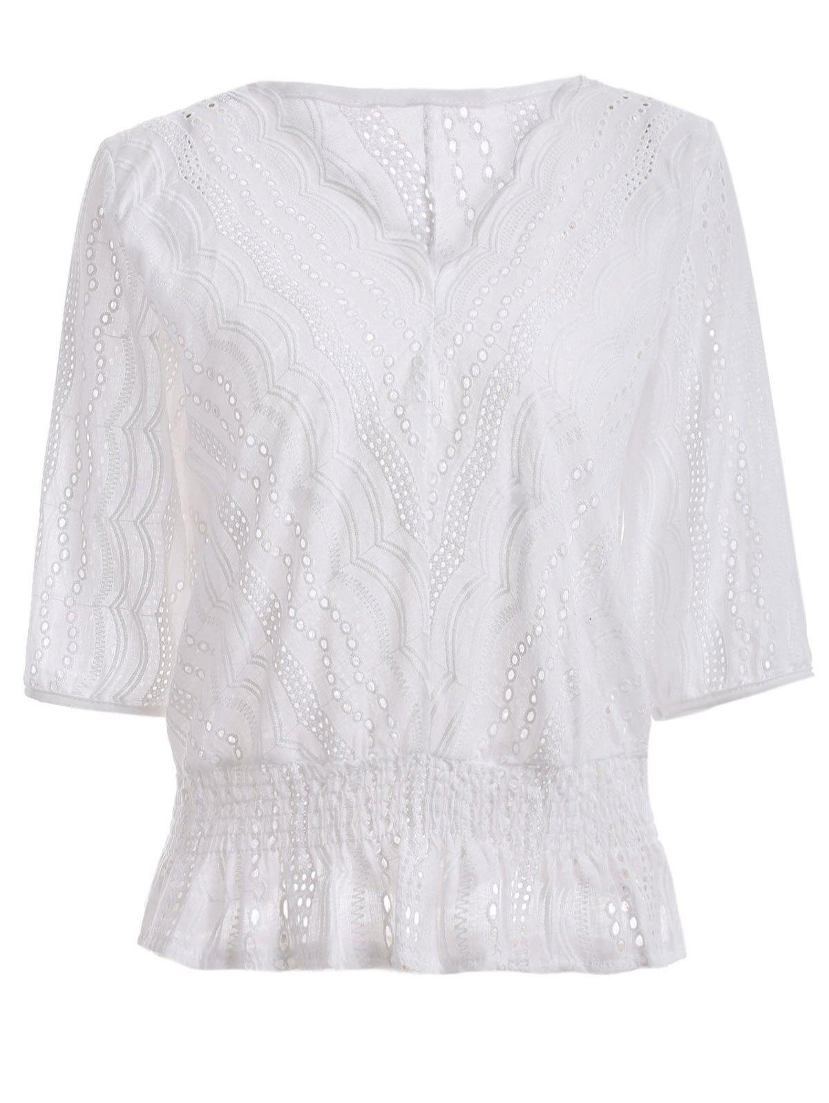 3/4 Sleeve V Neck Bat Sleeve BlouseWomen<br><br><br>Size: ONE SIZE<br>Color: WHITE