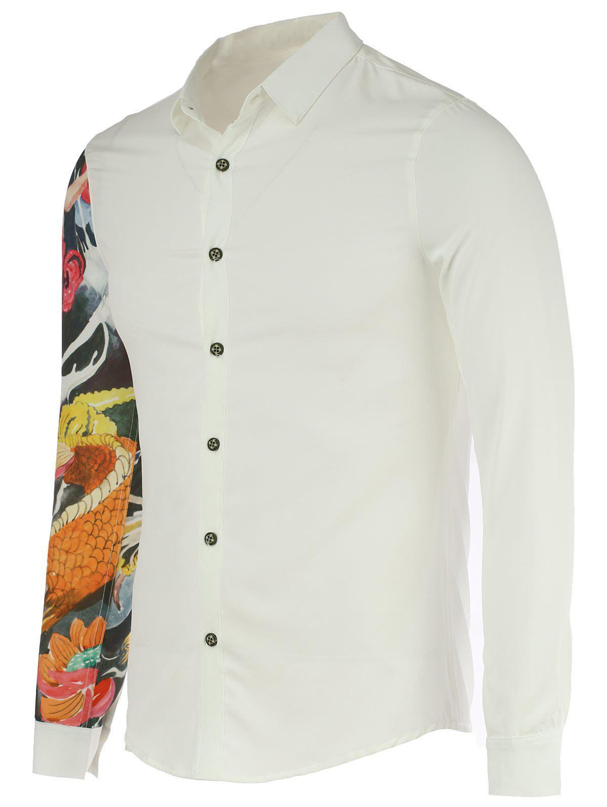 Devil Print Turn-Down Collar Long Sleeve Men's Shirt - WHITE XL