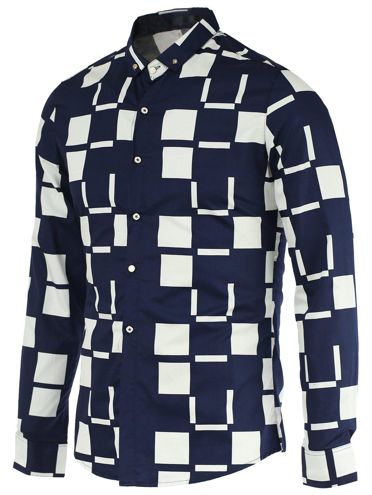 Color Block Checked Pattern Turn-Down Collar Long Sleeve Button-Down Men's Shirt - DEEP BLUE L