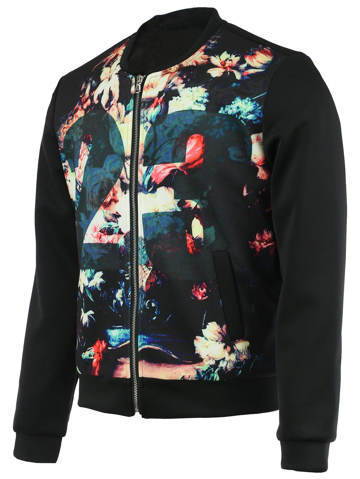 Floral Print Splicing Zip-Up Jacket