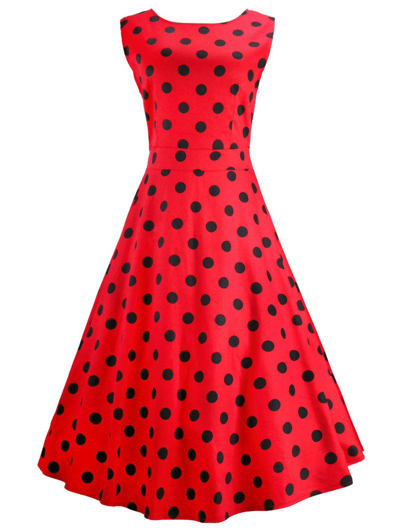 Vintage Sleeveless Red Polka Dot Dress - RED 2XL