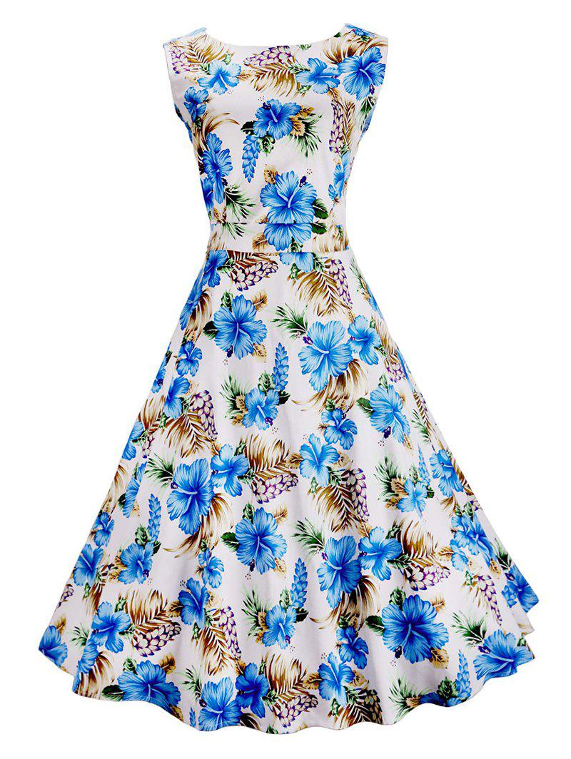 Vintage Floral Printed Sleeveless Dress - BLUE/WHITE 2XL