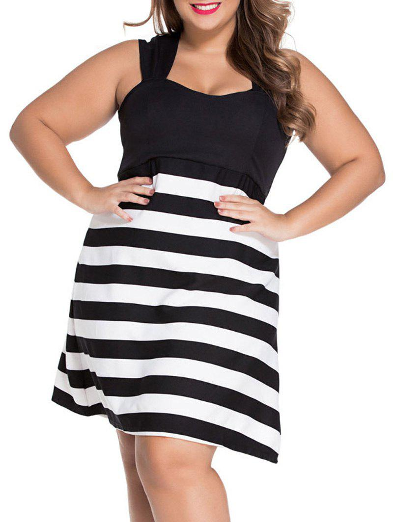 Square Neck Stripe Color Block Sun A Line Dress - STRIPE 3XL
