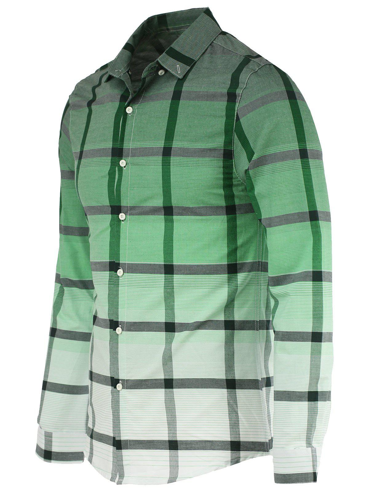 Fashion Gradient Color Stand Collar Long Sleeves Checked Shirt For Men - GREEN 2XL