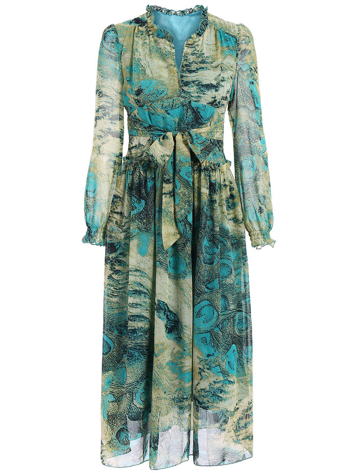 Chic Long Sleeve Peacock Feather Print Waist Tied Chiffon Dress For Women - GREEN XL