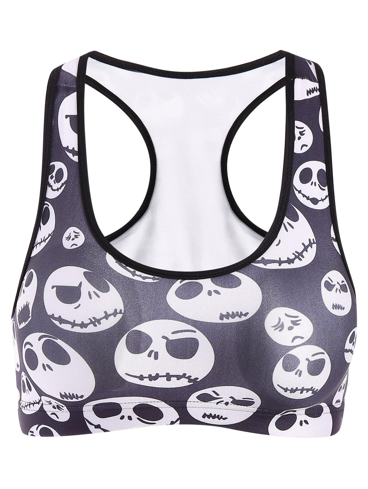 Active Skull Print Sport Crop Top For Women