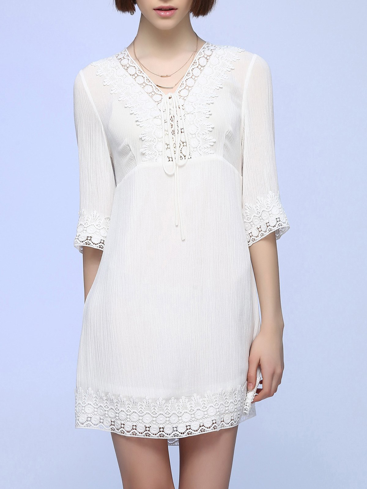 Crochet Garniture Tie-Front Dress - Blanc L
