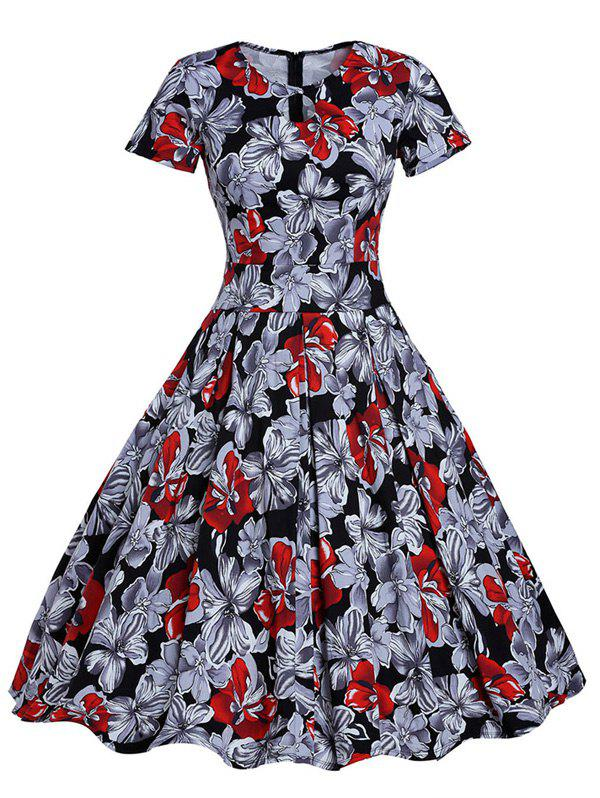 Retro Hole Floral Print High Waisted Flare Dress - COLORMIX L