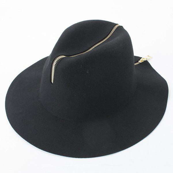 Trendy Faux Suede Gold Plated Back Zipper Fedora Hat For Women - BLACK