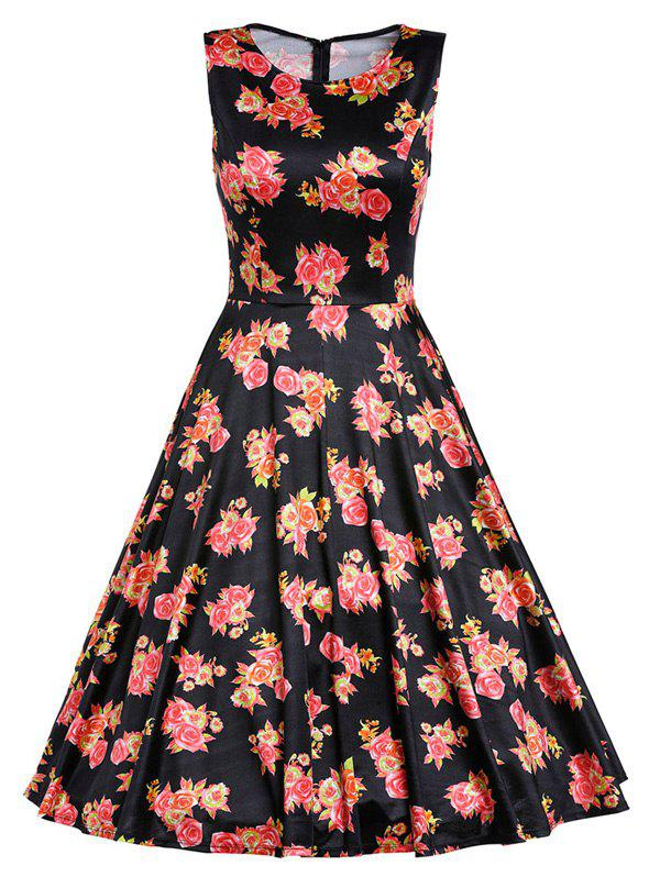 Retro Sleeveless Rose Flower Print High Waisted Dress