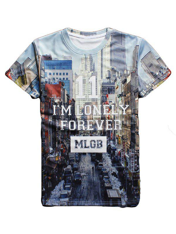 Streetscape 3D Print Round Neck Short Sleeve Men's T-Shirt