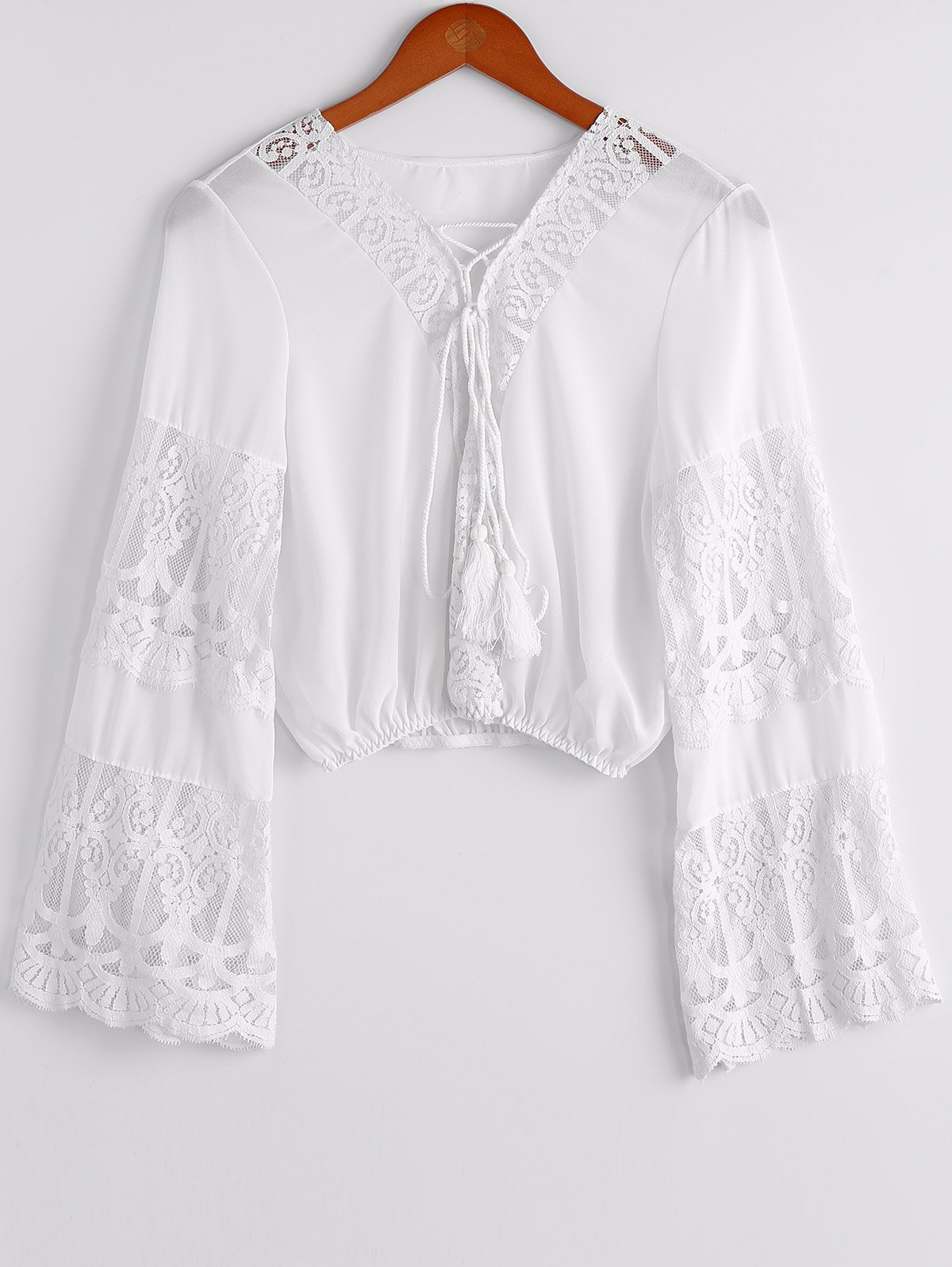 Stylish Women's Plunging Neckline Lace Splicing Flare Sleeve Crop Top - WHITE ONE SIZE(FIT SIZE XS TO M)