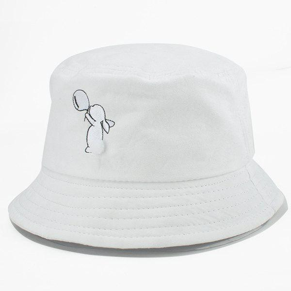Cute Cartoon White Rabbit Embroidery Flat Bucket Hat For Women