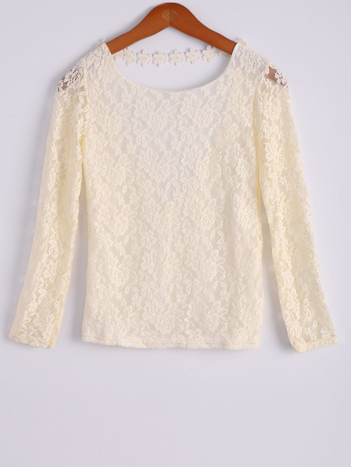 Stylish Long Sleeve Scoop Collar White Backless Lace Women's Blouse - BEIGE S