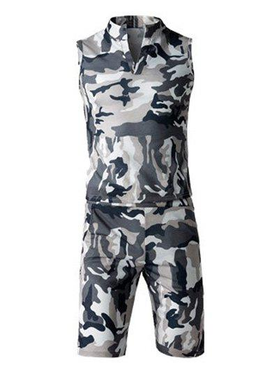 Camo Sleeveless Stand Collar Tank Top and Elastic Waist Shorts Twinset For Men - GRAY 4XL