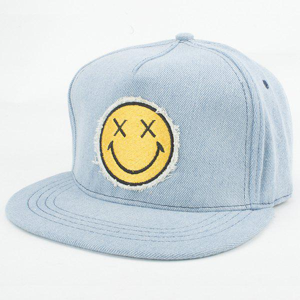 Fashion Style Smiling Face Embroidery Jean Summer Baseball Cap For Women - LIGHT BLUE