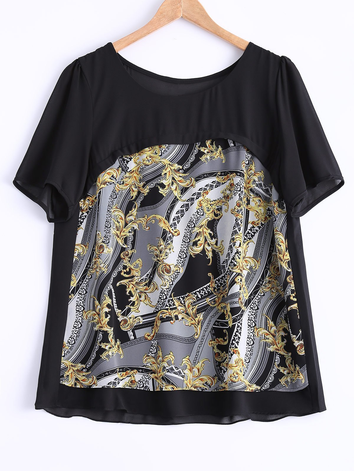 Plus Size Abstract Pattern Blouse - BLACK 5XL