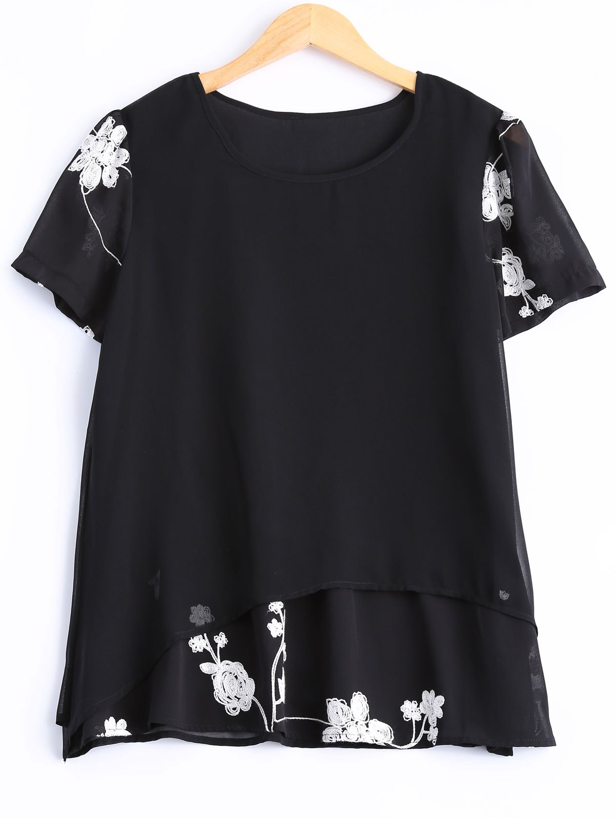 Plus Size Flower Embroidered Hit Color Blouse