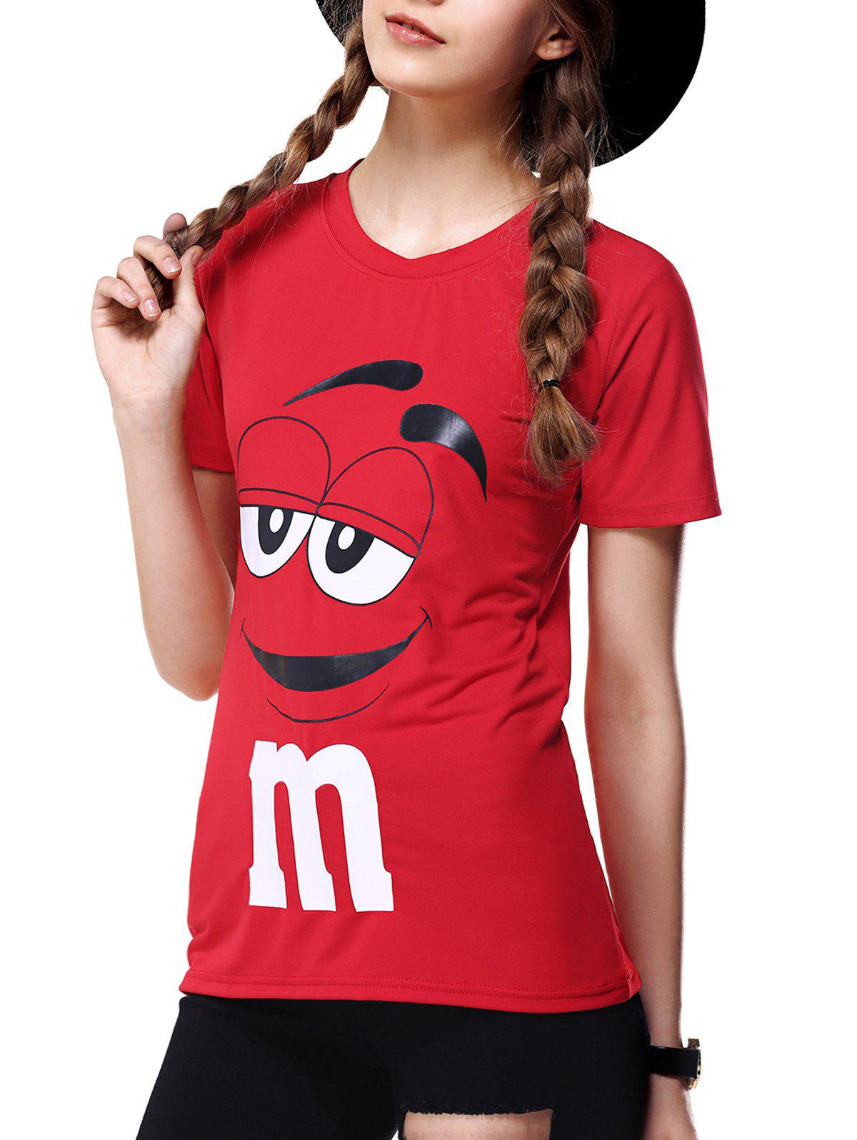 Cute Round Collar Cartoon Print Slimming Women's T-Shirt - RED XL