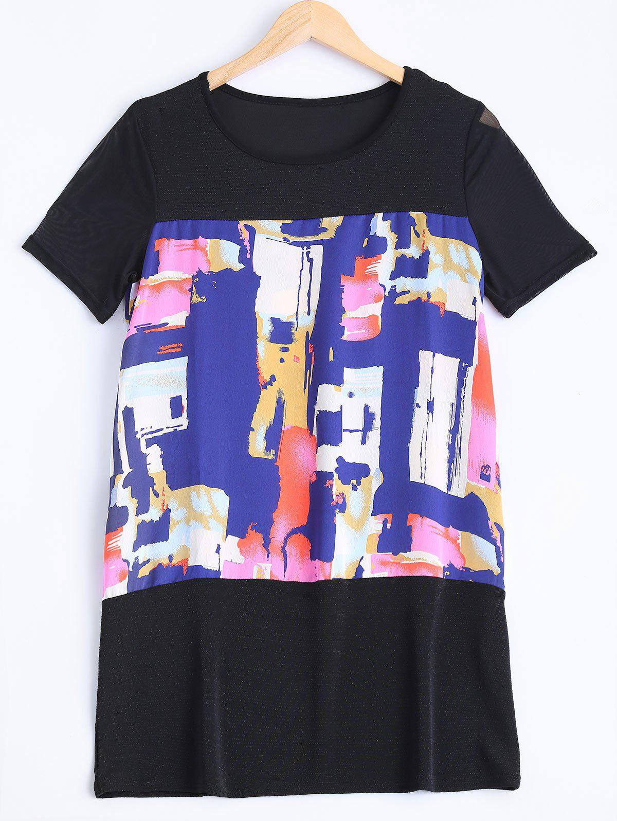 Plus Size Colorful Printed Long Blouse