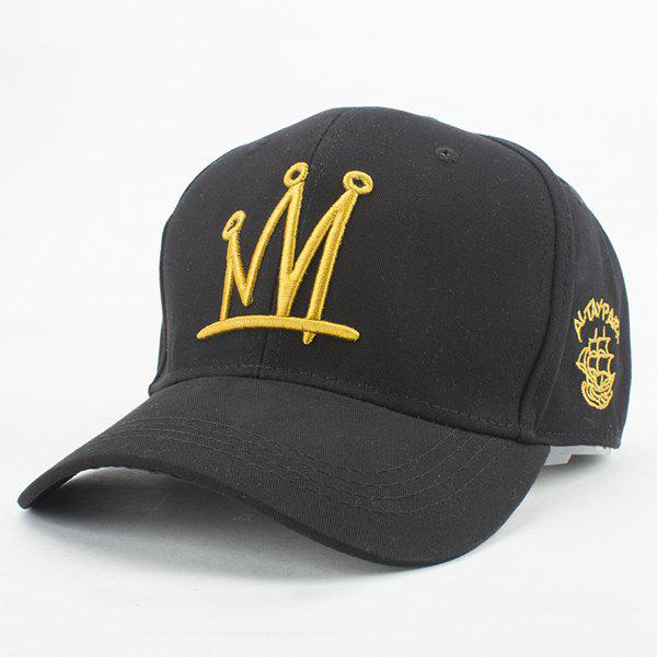 Chic Crown Embroidery Summer Baseball Cap For Women - BLACK