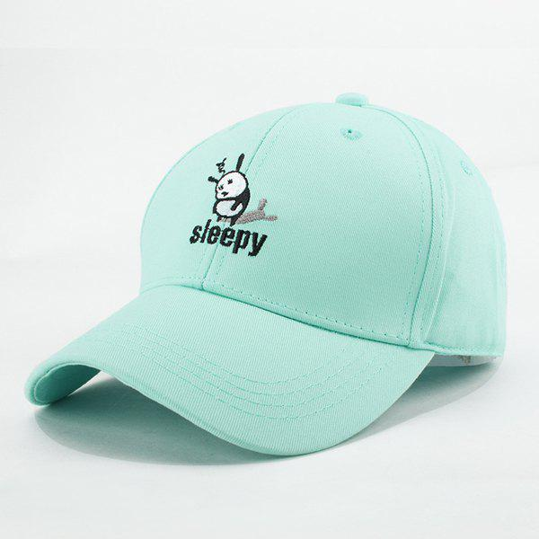 Stylish Summer Sleepy Cartoon Panda Embroidery Baseball Cap For Women - MINT GREEN