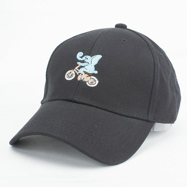 Stylish Cartoon Elephant in Bike Embroidery Summer Baseball Cap For Women - BLACK