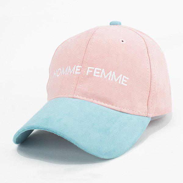 Stylish Faux Suede Letters Embroidery Retro Baseball Cap For Women - LIGHT PINK