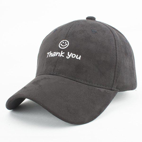 Fashion Faux Suede Smile Face Letters Embroidery Baseball Cap For Women - BLACK