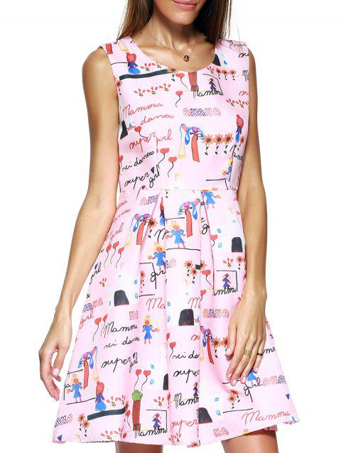 Endearing Scoop Neck Printed Pleated Dress For Women - PINK M