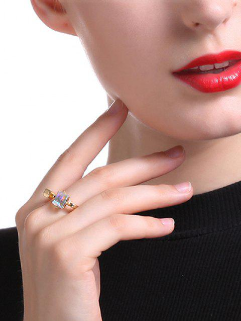 Gorgeous Faux Crystal Square Ring - GOLDEN ONE-SIZE
