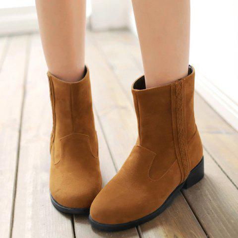 Simple Solid Colour and Zipper Design Women's Boots - BROWN 39