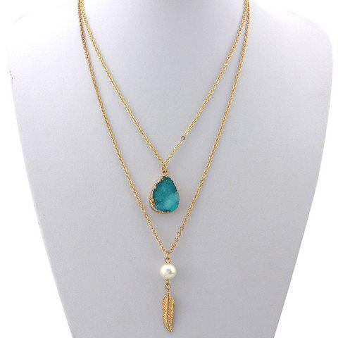 Double Layered Faux Crystal Teardrop Feather Pendant Necklace - LAKE BLUE