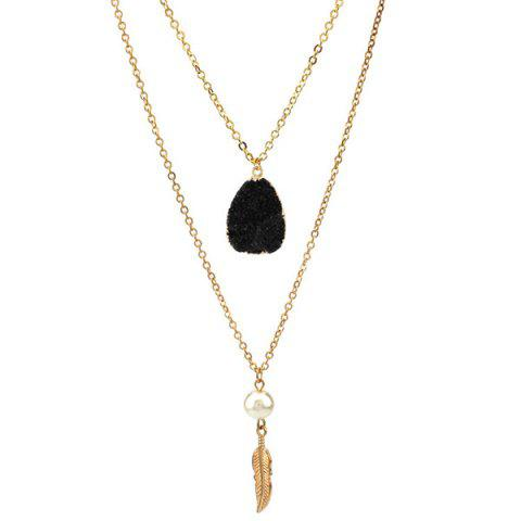 Double Layered Faux Crystal Teardrop Feather Pendant Necklace - BLACK