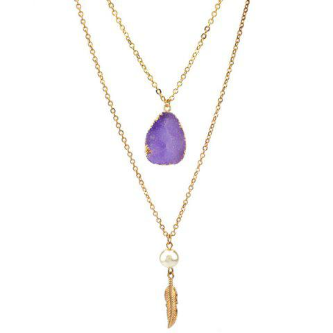 Double Layered Faux Crystal Teardrop Feather Pendant Necklace - VIOLET ROSE
